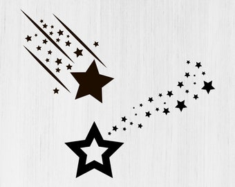 Stars Svg Star Svg Shooting Star Png Svg Download Cutting File Etsy