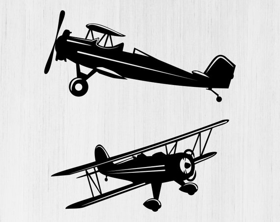 Biplane Svg Fly Svg Propeller Plane Svg Biplane Silhouette Etsy