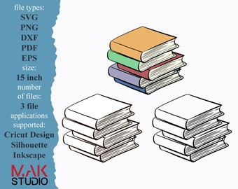 Stack of books svg Stack of books svg files Stack of books cut files Stack of books Cricut Stack of books png Stack of books image Books svg