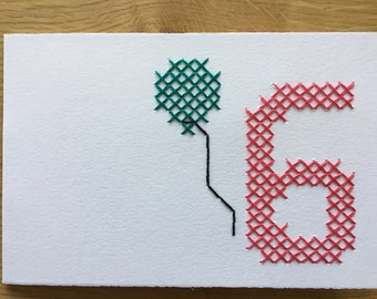 "Card motif ""6th birthday"" (various. Colors)"