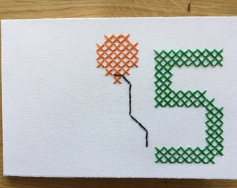 "Card motif ""5th birthday"" (various. Colors)"