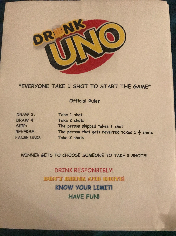 Drunk Uno Etsy