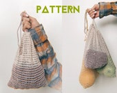 Mesh Produce Bags Crochet Patterns, Set of 3 Bags S M L Size, Easy Pattern For Beginners, Zero Waste Bags, Tutorial DIY Step By Step PDF