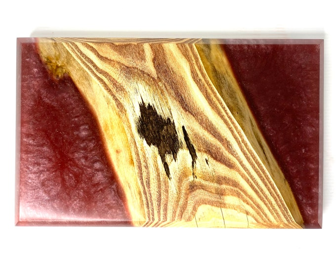 Wood and Resin Serving Board - Ash Wood & Merlot Sparkle (Medium)