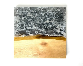 Wood and Resin River Serving Board-Walnut Wood & Ghostly White Swirl (Medium)
