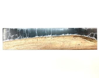 River Serving Board - Hawaiian Koa Wood & Melting White on Black (Medium)
