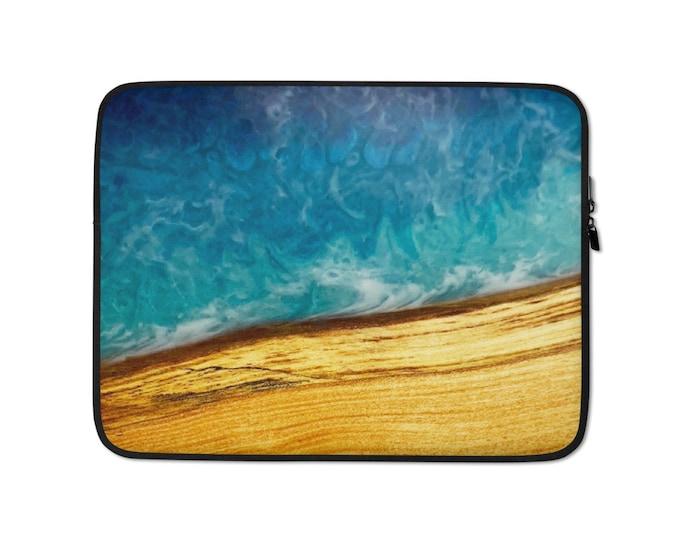 Laptop Sleeve: Ash Wood & Resin Ocean Image