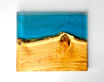 River Cutting Board (Large) - Ash Wood & Turquoise & Gray Ripple