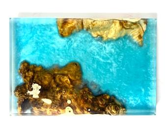 Wood and Resin River Serving Board - Buckeye Burl Wood & Blue Metallic (Large)