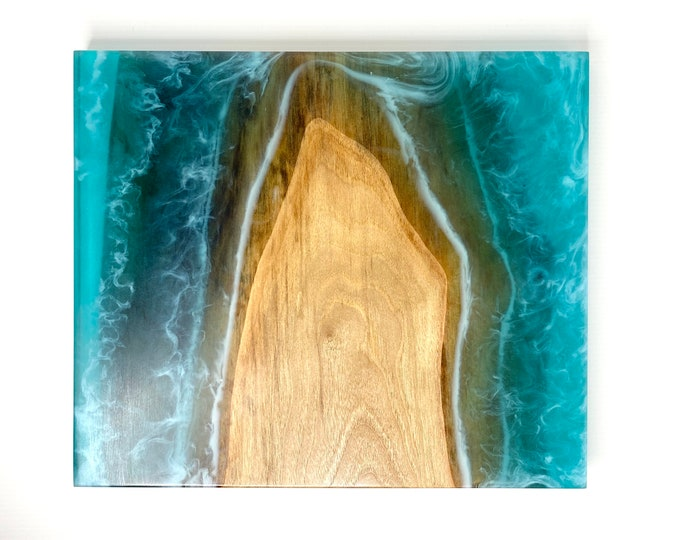 River Serving Board (Large) - Walnut Wood & Turquoise Island