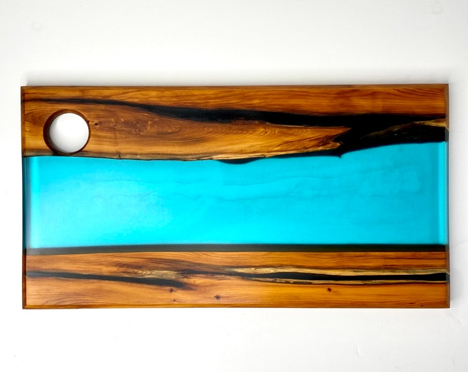 River Serving Board (Large) - Salvaged Old Growth Cedar with Turquoise