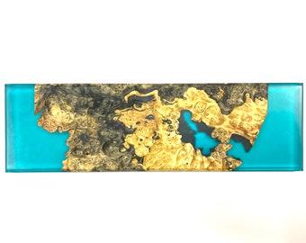 River Serving Board - Buckeye Burl Wood & Turquoise (Large)