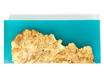 River Cutting Board (Medium) - Maple Burl Wood & Turquoise