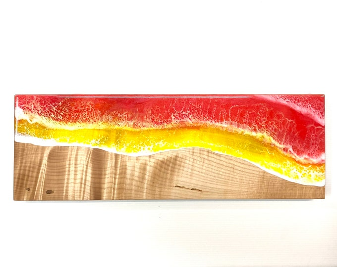River Serving Board - Quilted Maple & Red Ocean (Medium)