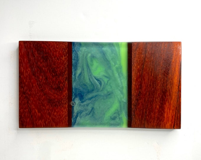 River Cutting Board (Small) - Padauk Wood & Blue/Green Swirl