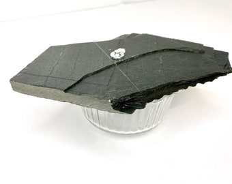 Zen Stone Candle (Small) - Dark Slate & Glass