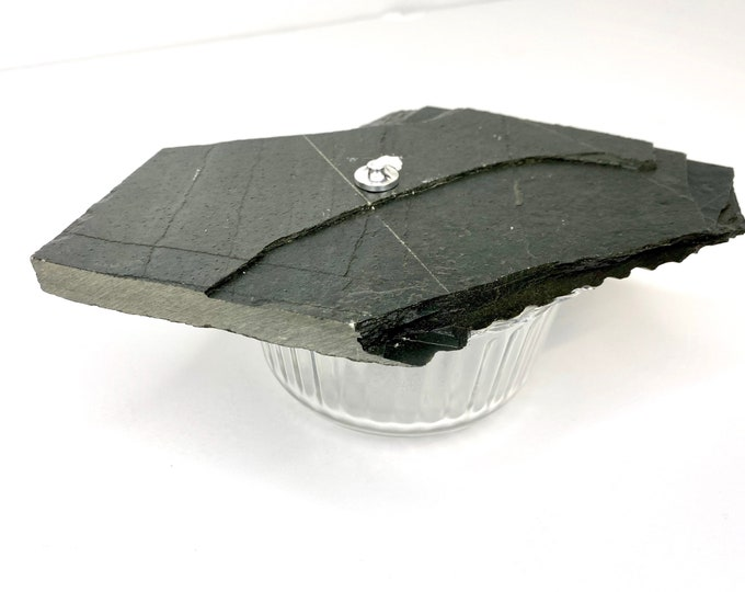 Zen Stone Candle (Small) - Dark Slate & Glass