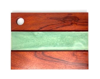 Wood and Resin River Serving Board- Padauk Wood & Jade Green (Medium)