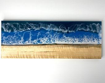 River Serving Board made of Live-edge Figured Myrtle & Epoxy Resin