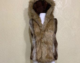 Furry Fluffy Unisex Realistic Sleeveless Shrug Brown Rust Tan Lilac Purple Frosty Blue Arctic Pastel White 6255 Pawstar Fox Faux Fur Vest