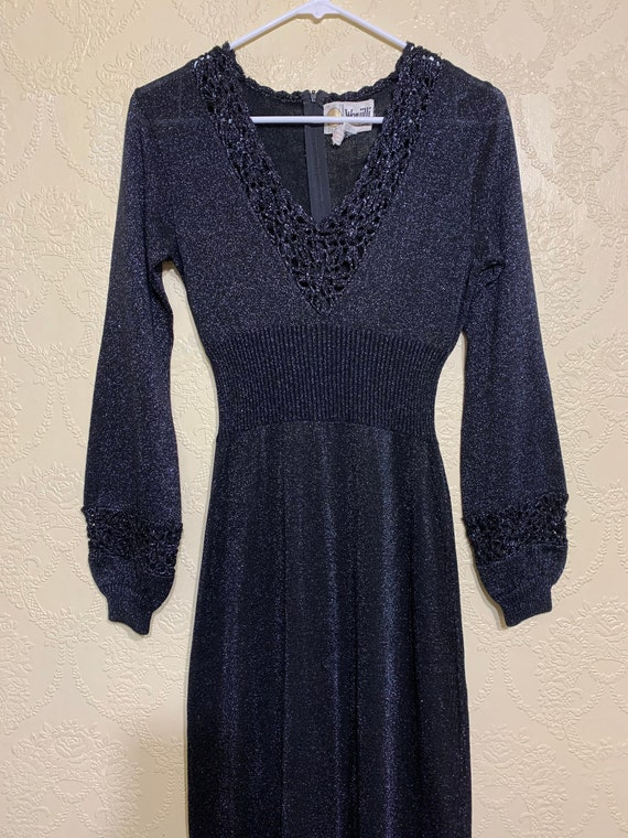 70's WENJILLI BLACK SILVER Lurex Knit Dress Sweate