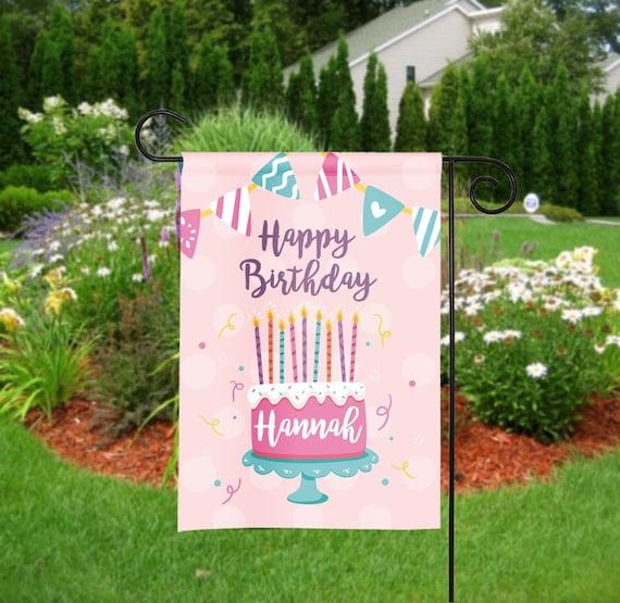 Personalized Happy Birthday Garden Flag, Birthday Garden Flags