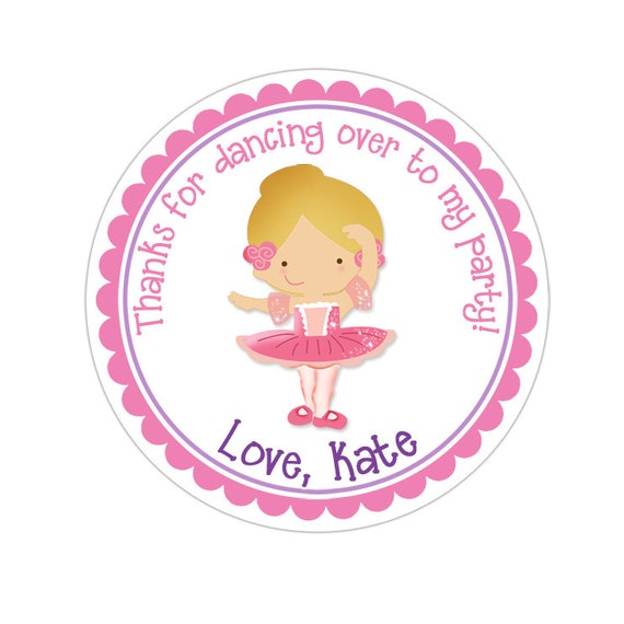 35 personalised Gymnastics Ballet Stickers sweet labels birthday Dance party bag