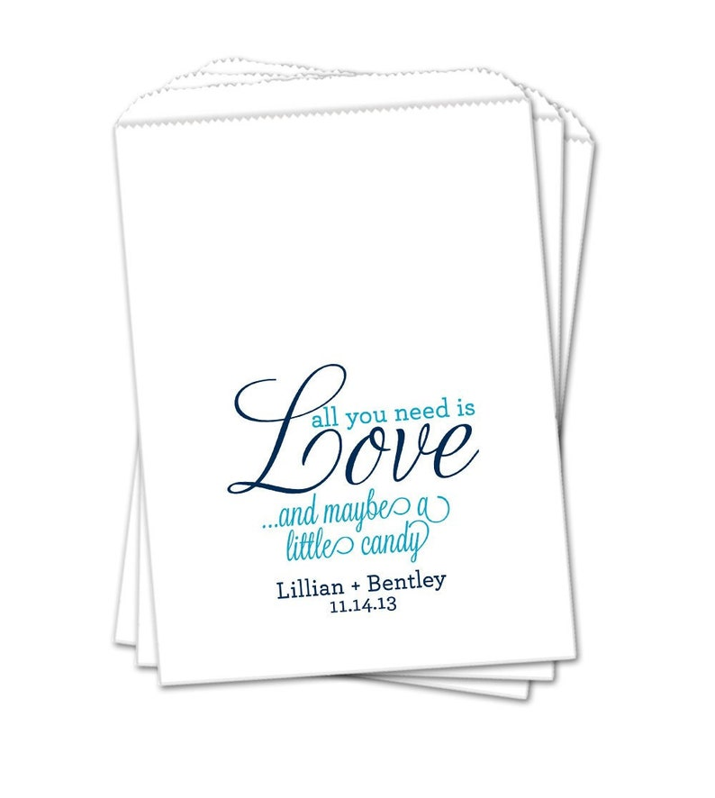 Treat Bag Sets of 25 Wedding Favor Bags Personalized Wedding Candy Bags Candy Buffet All you Need is Love and Candy