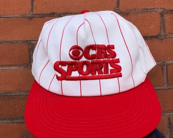 fa82d9997f45 Vintage cbs sports pinstripe hat 90 s grunge hip hop street wear snap back  style fashion espn industry rave goth rocker 80s house party