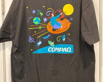 Vintage 90s CompaQ Ready to be Hero Information Technology Tech PC Computer Distressed White T Shirt Size XL