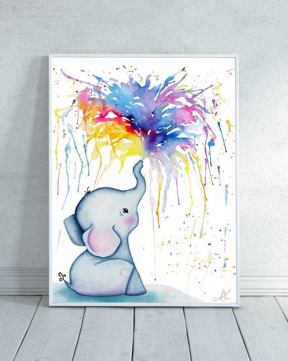 Original watercolour painting Cute Elephant 6x8 drawing wildlife Safari gift cute wall Fine art decor