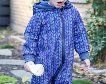 Outdoor Grow With Me romper   Outdoor playsuit   Softshell romper   Evolutionary romper