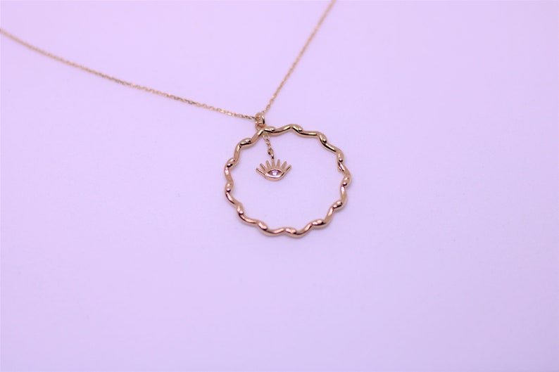 Delicate 14k Solid Rose or Yellow Gold Twisted Circle Evil Eye CZ Necklace