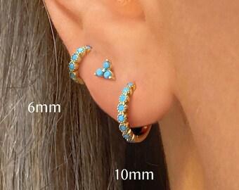 Turquoise Hoop Bezel Earrings •  turquoise small hoop earrings • gold milgrain hoop earrings • turquoise gemstone huggie hoop earrings