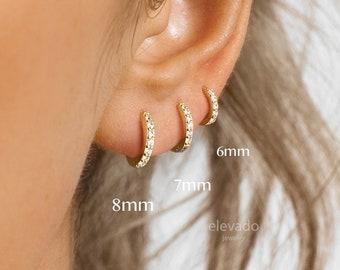 Huggie Hoop Earrings • gold conch hoop • cartilage hoop • hoop earrings • silver pave ring hoop • tragus hoop • small helix hoop