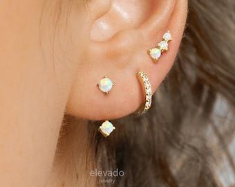 Opal Front Back Earrings • opal ear jacket • dainty ear jacket • gold opal earrings • ear jacket earring • minimal earring • elevado jewelry