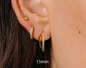 Hoop Stud Earrings • hook stud earrings • hook hoop earrings • dainty earrings • minimalist earring • post earrings • sleeper studs