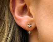 Ear Jacket Sun Star Flower Ear Jacket front and back earring silver ear climber ear crawler gold ear climber ear cuffs