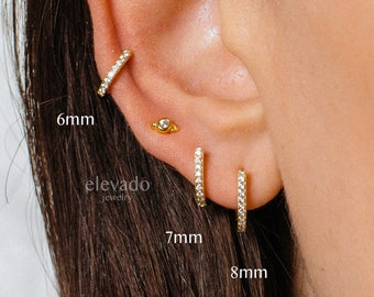 Straight Post Huggie Earrings • straight post hoops • small hoop earrings • dainty hoops • huggie hoop earrings • hoop earrings • minimalist