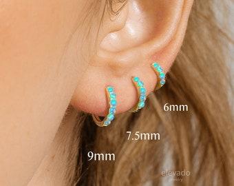 Blue Opal Huggie Hoop Earrings • elevado jewelry • minimalist earrings • dainty earrings • gold huggie hoop earrings • silver • rose gold