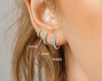 Opal Hoops • simple hoop earrings • cartilage hoop • gold conch hoop • small helix hoop • huggie earrings • elevado jewelry