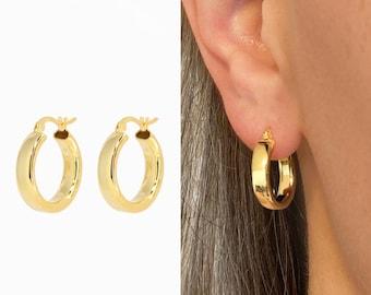 Chunky Bold Hoop Earrings • statement hoop earrings •  gold hoop earrings • lightweight earrings • minimalist earrings