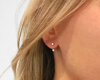 Front Back Earrings • ear jacket • dainty ear jacket • gold earrings • ear jacket earrings - minimal earring • cz ear jacket • ear jacket