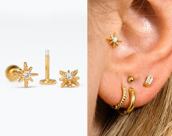 18G Tiny Star Tragus Flat Back Labret Stud • 925 Sterling Silver • Star Tragus Stud • Flat Back Earring • Helix • Conch Earring • Cartilage