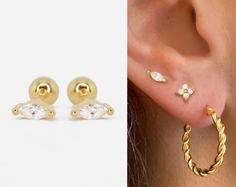 Silver /& Gold Filled Double Marquise Stud Earrings  Sterling Silver  14Kt Gold Filled  Minimalist Handmade  Everyday Earrings