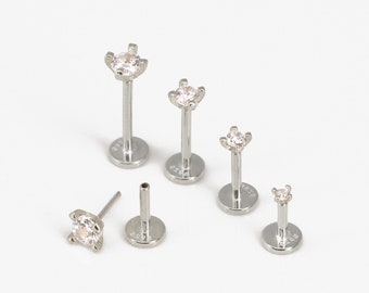 18G/16G Silver Threadless Push Pin Labret Stud • Solid 925 Sterling Silver • Tragus Stud • Flat Back Earring • Helix • Conch