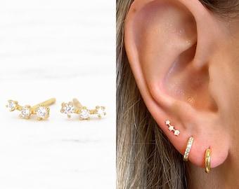 Tiny Climber Stud Earrings • CZ dainty earrings • gold studs • small stud earrings • minimalist earrings • silver stud earrings