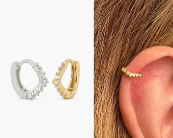 Silver Chevron Cartilage Helix Tragus Earring Piercing