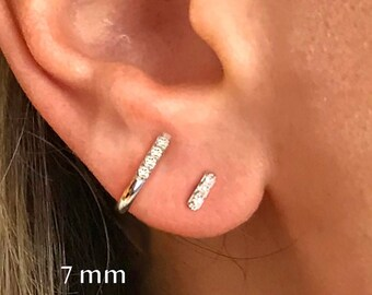 Silver with Rhodium Finish Shiny 3.0X14mm Clear Cubic Zirconia Huggie Earring