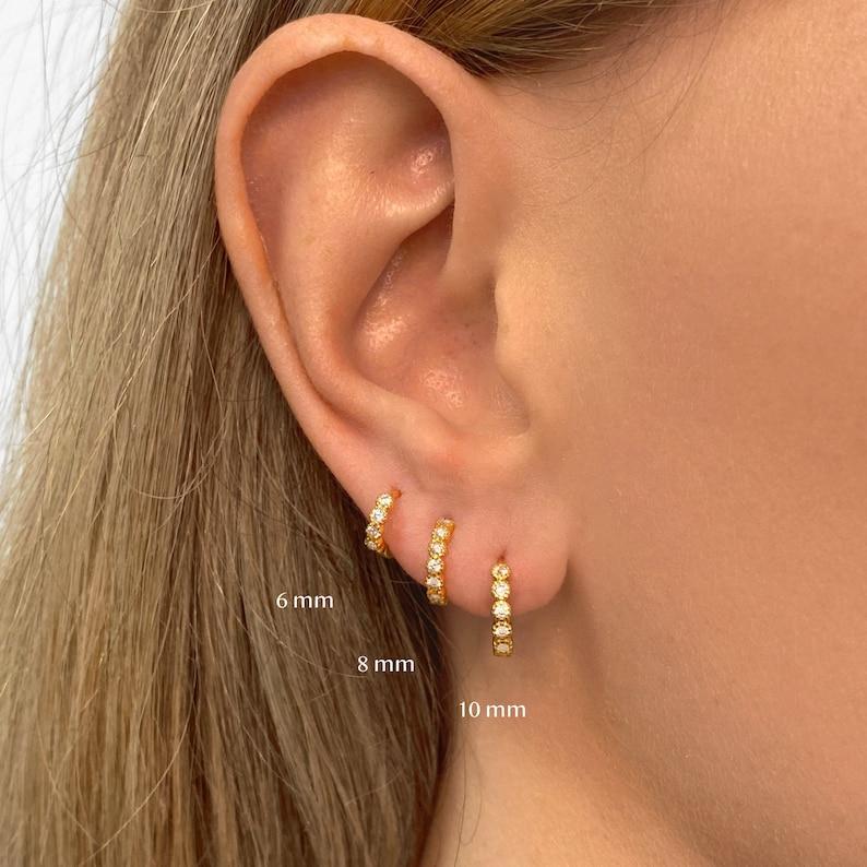 Huggie Hoop Bezel Earrings •  small hoop earrings • gold milgrain hoop earrings • huggie hoop earrings • huggie hoops • tiny hoops photo